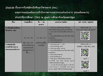 Announcement of the recruitment of military students.